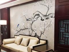 珐蓝邸艺术涂料客厅背景墙装修效果图