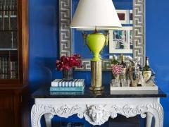 MM艺术涂料蓝色调背景墙装修图片